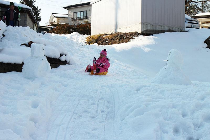 雪だるまの間をソリーで