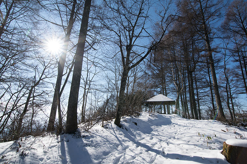 冬の陣馬平山のあずまや